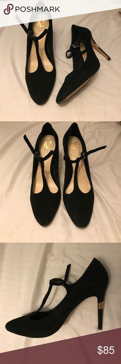 """Vince Camuto Signature Black T-strap heels Shoes are in perfect condition, only worn once. Very nice soft suede. Cute gold detail on the back of the heel. Very classic black heels. Approximately 4"""" heel Vince Camuto Shoes Heels"""