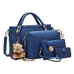 250e333419d1 niceEshop(TM) Women Tote Shoulder Bag Pu Leather Handbag Set (Blue