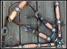 Custom tackset, coral/taupe croc, golden shadow/mocca crystals.