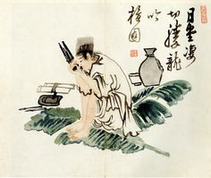 """""""Walhachwisaeng"""" (月下吹苼) by Kim Hong-do depicts a man playing a saenghwang, a free-reed mouth organ, under the moon. (photo courtesy of the Gansong Art Museum)"""