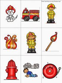 Και φέτος έχουμε την εβδομάδα πυρασφάλειας, εν αναμονή της επίσκεψης των Εθελοντών Πυροσβεστών του Πυθαγορείου. Έτσι συμπλήρωσα το υλικό ... Circle Time Activities, Fire Drill, Community Helpers, First Aid, Transportation, Preschool, Pattern, Blog, Stitches
