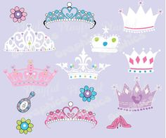 Princess Crown Clipart Princess Party Digital by Playfulgraphics, $5.00