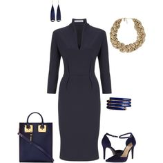 A fashion look from November 2014 featuring midi dress, high heel pumps and navy leather tote. Browse and shop related looks.