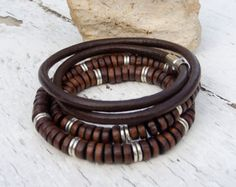 Mens leather bracelet, Mens mala style bracelet, Bracelet set for men, Dark brown