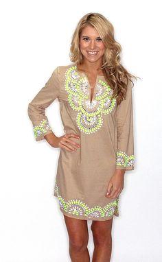 Key lime embellished tunic dress.