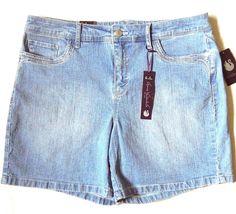 NWT Gloria Vanderbilt Jacqueline Embellished Womens Blue Denim Shorts Size16 $44 #GloriaVanderbilt #CasualShorts