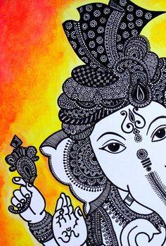 Hindu God Lord Ganesha Zentangle Art Print | Etsy
