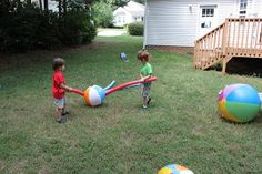 Fun outdoor game for under $10 - Beach ball and pool noodles - bat the ball fun or bat it to a goal - play sabre fight with the pool noodles