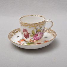 KPM Berlin Flowers and Insects cup with saucer, 19the Century