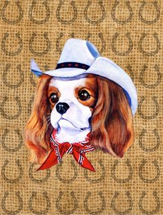 Cavalier Spaniel Dog Country Lucky Horseshoe 2-Sided Garden Flag