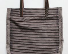 Striped Shibori Plant Dyed Cotton Tote Bag Shoulder Bag with Leather Handles Purple Grey
