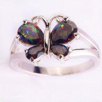 Wish | lingmei Rainbow Topaz Gemstones Silver Ring Size 6 7 8 9 10 11 Splendid Pear Cut Butterfly