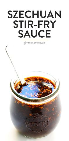 This 5-Minute Spicy Szechuan Sauce recipe is quick and easy to make, and perfect for a stir-fry or dipping sauce. Feel free to make yours as spicy or mild as you would like! | Gimme Some Oven #szechuan #sauce #stirfry #chinese #recipe Chinese Cuisine, Chinese Food, Gimme Some Oven, Perfect Food, Sauce Recipes, Stir Fry, Spicy, China Food, Dip Recipes