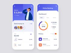 Mobile App - Online Banking by Afterglow on Dribbble Hey guys, Recently we've been working on banking app, which allows you to set up a budget and monitor spending in your accounts to quickly see where your money goes and helps you take control of it. Web Design Mobile, App Ui Design, Flat Design, Design Design, Graphic Design, Design Layouts, Dashboard Design, Budget Planner App, Design Thinking