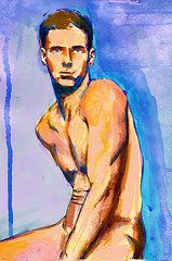 Watercolor gay artist by Alexy Berthelot