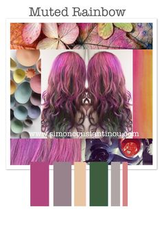 Loving these Muted Rainbow hair colours!   Book a complementary colour consultation with one of our super talented colourists, call 02920461191  O.Constantinou & Sons. 99 Crwys Rd, Cardiff. CF24 4NF   All non- hair Images are sourced from pinterest. Colourful bowls (featured on the left) are made by dietlind wolf via @Ex.t  #rainbowhair #mutedrainbow #moodboard #haircolor
