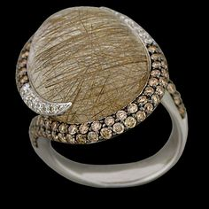 18K White Gold Ring with Rutilated Quartz (22.11ct) bezel set with Diamonds (1.54cttw) pav