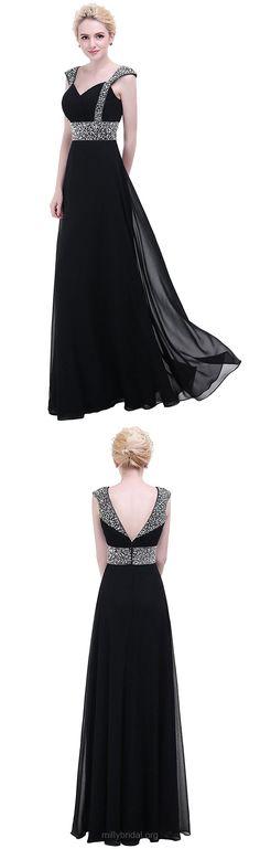 Black Prom Dresses, Long Prom Dresses, A-line Prom Dresses V-neck, Chiffon Prom Dresses with Beading, 2018 Prom Dresses Modest