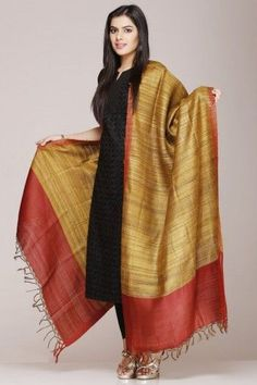 Tussar SIlk salwar Suits online. They are block printed. This ...