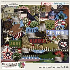American Heroes Full Kit by Trixie Scraps Designs - Celebrate all your American Heroes with this super versatile, military-themed digital scrapbooking collection. Whether you have Army, Air Force, Marine or Navy photos to scrapbook, American Heroes has got it covered! There's also plenty of red, white and blue, making this kit perfect for Memorial Day, Independence Day, and other patriotic pages, too. This full kit contains twenty 12x12 papers, 53 elements and a full alpha.