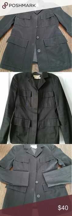 Michael Kors Fitted Military Style Jacket A super find! Michael Kors military inspired black cotton tailored jacket for fall! Four front pockets and a covered button placket on front, slightly tapered in the back. This jacket is awesome and will be great looking with a pair of skinny jeans and boots this fall. Size 4 but seems to be a good fit for a 4-6. Exceptional condition. No rips, tears, stains, etc. Looks perfect. Michael Kors Jackets & Coats Blazers