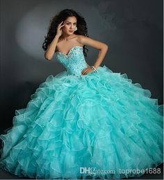 Cheap new quinceanera dress, Buy Quality dresses for 15 directly from China quinceanera dresses Suppliers: 2017 Newest New Quinceanera Dresses Ball Gowns Sweetheart Beading Organza Ruffles Pleat Floor Length Dress For 15 Years Ball Gown Dresses, 15 Dresses, Pretty Dresses, Beautiful Dresses, Evening Dresses, Wedding Dress Sizes, Elegant Wedding Dress, Gown Wedding, Wedding Dresses