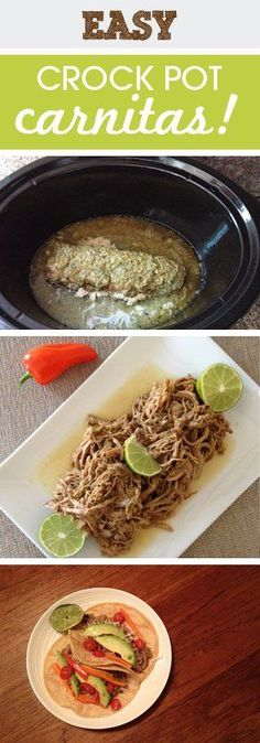Easy Crock Pot Carnitas - One of the easiest time savers for me is to get dinner done in the morning. I love super easy and fun crock pot meals. Pork Recipes, Slow Cooker Recipes, Mexican Food Recipes, Crockpot Recipes, Dinner Recipes, Cooking Recipes, Ethnic Recipes, Recipies, Dinner Ideas