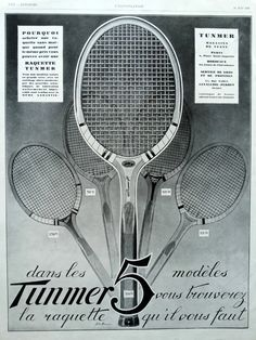 Tunmer Tennis Rackets original vintage French advertisement 1928, tennis poster sport ad, French illustration print, 5 models Tunmer rackets by OldMag on Etsy
