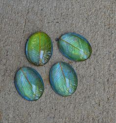 Large luminescent yellow/green leafy cabochons- bead embroidery supplies