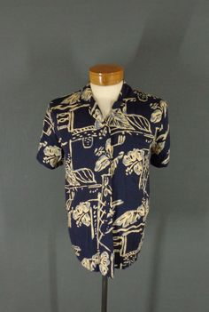 def3bfe1 Vintage Hilo Hattie Navy Blue Abstract Floral Print Hawaiian Aloha Shirt 42  VLV #HiloHattie #