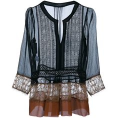 Alberta Ferretti Silk Blouse With Lace Trim found on Polyvore featuring tops, blouses, shirts, boho shirts blouses, boho shirts, transparent blouse, bohemian blouse and see through tops