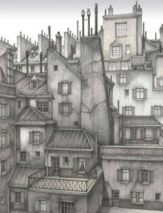 . Gary Saber. Paris 1890s rooftops pen and ink drawing
