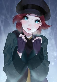 Imagen anime 777x1100 con anastasia (disney) disney anastasia (character) moochirin (artist) single tall image blush short hair looking at viewer blue eyes open mouth red hair lips teeth eyebrows eyelashes wide sleeves snow upper body outdoors