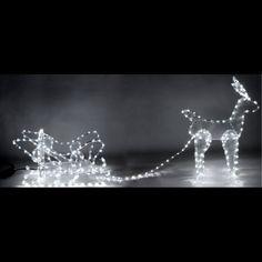 Renne lumineux pas cher avec son traineau 336 LED Blanches, deco noel -  Badaboum Guirlande a4a991b2caa5