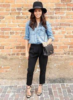 黒パンツ デニムシャツ レディース - Google 検索