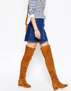 Image 1 of Park Lane Block Heeled Suede Over The Knee Boots