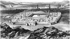 R.J. Burton's 19th century drawing of Madina with the Mosque of the Prophet in the center.