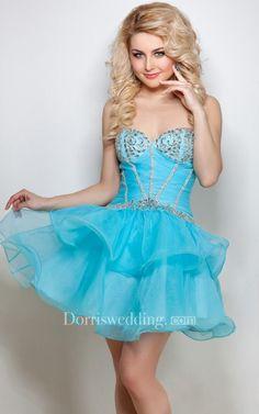 #AdoreWe #Dorris Wedding - #Dorris Wedding A-Line Short Sweetheart Sleeveless Tulle Beading Ruffles Low-V Back Dress - AdoreWe.com