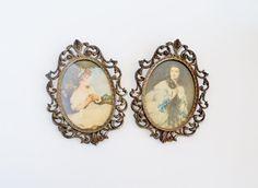 Italian Ornate Antiqued Brass Wall Frame Set by SunshineSurprises
