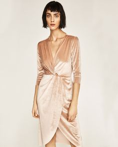 24f6584cef6a58 Velvet is a hot trend this season! This velvet dress will be great for  winter and holiday parties! CROSSOVER VELVET DRESS from Zara