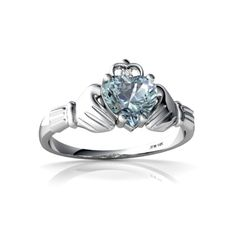 In all seriousness, if someone got tgis for me I would cry lmao.  Aquamarine Claddagh 14K White Gold Ring R2372 - front view