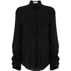 Saint Laurent sheer fitted blouse featuring polyvore women's fashion clothing tops blouses black fitted blouse transparent blouse sheer ruffle blouse sheer top tailoring blouse