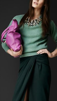Lovely colours.  (bet that jersey costs a pretty penny)  Burberry Prorsum Gem-Embellished Cashmere Sweater