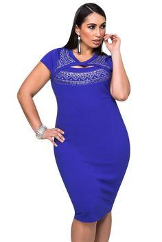 b13216d2b1f Royal Blue Curvaceous Cutout Foil Print Bodycon Dress Plus Size Womens  Clothing