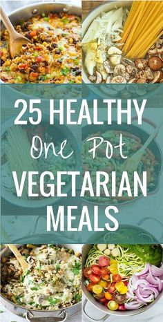 25 Healthy One Pot Vegetarian Meals Happy Friday! What's on the agenda for you guys this weekend? It's supposed to be cold and rainy here so we'll probably lay low, watch a movie and. Veggie Recipes, Whole Food Recipes, Cooking Recipes, Healthy Recipes, Healthy One Pot Meals, Vegetarian Crockpot Recipes, Chicken Recipes, Appetizer Recipes, Vegan Freezer Meals