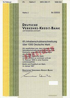 Bond from Deutsche Verkehrs-Kredit-Bank (DVKB); Anleihe der Deutsche Verkehrs-Kredit-Bank über 1000 DM zu 6 %