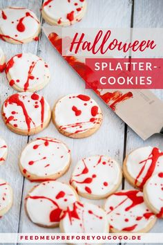 Trick or Treat: Splatter Cookies and Devil's Food Cupcakes for Halloween - Feed me up before you go-go {Rezepte} - Dessert Halloween Donuts, Halloween Cake Pops, Halloween Desserts, Halloween Torte, Pasteles Halloween, Feliz Halloween, Halloween Party Appetizers, Fröhliches Halloween, Halloween Trick Or Treat