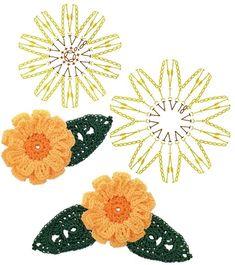 No.74 Zinnia Crochet Flower Motifs / 백일홍 코바늘 플라워 모티브도안