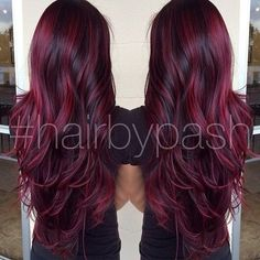 cherry bombre hair color for brunettes. Hair Color And Cut, Ombre Hair Color, Hair Colors, Magenta Hair, Plum Hair, Black Cherry Hair Color, Red Hair For Black Hair, Blonde And Burgandy Hair, Cherry Red