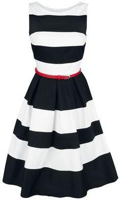 - Reißverschluss an der Seite - roter, abnehmbarer Taillen-Gürtel - fester Baumwoll-Stoff Der angesagte Rockabilly Stil ist genau Deine modische Kragenweite? Mit dem mittellangen Striped Swing Dress Kleid von Dolly & Dotty bist Du dann stilsicher und absolut schick unterwegs. Das in schwarz/weiß gestreifte Kleid bietet Dir mit dem weichen und atmungsaktiven Baumwoll-Stoff einen hohen Tragekomfort. Dank des Reißverschlusses an der Seite ist das Anziehen ganz mühelos und unkompliziert...